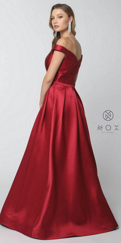 Burgundy Off-the-Shoulder Long Prom Dress with Pockets