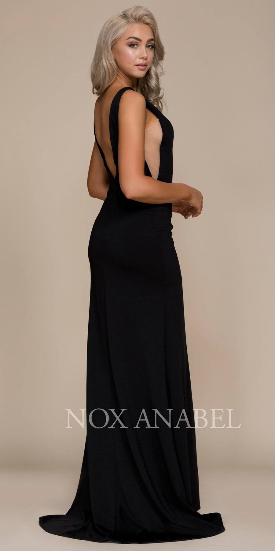 Black Sleeveless Long Prom Dress with Sheer Panels and Slit ...