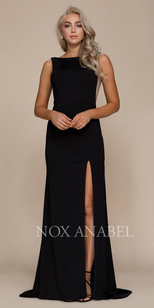 Black Sleeveless Long Prom Dress with Sheer Panels and Slit