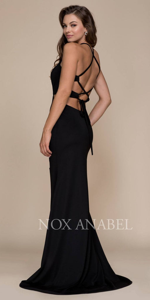 Black Halter Cut Out Long Prom Dress Strappy Back with Slit