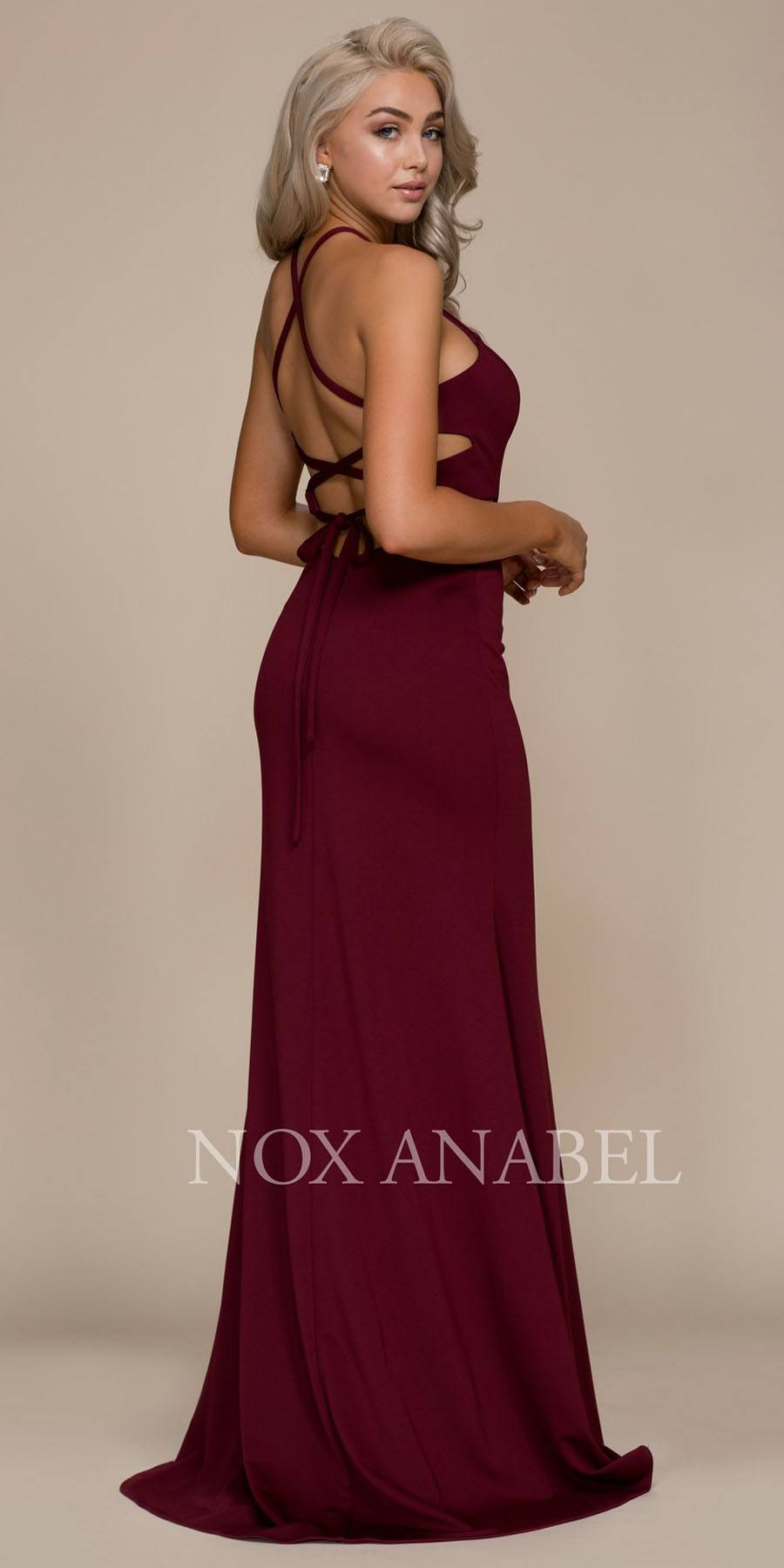 16a9bcd36be Nox Anabel C026 Burgundy Halter Cut Out Long Prom Dress Strappy Back ...