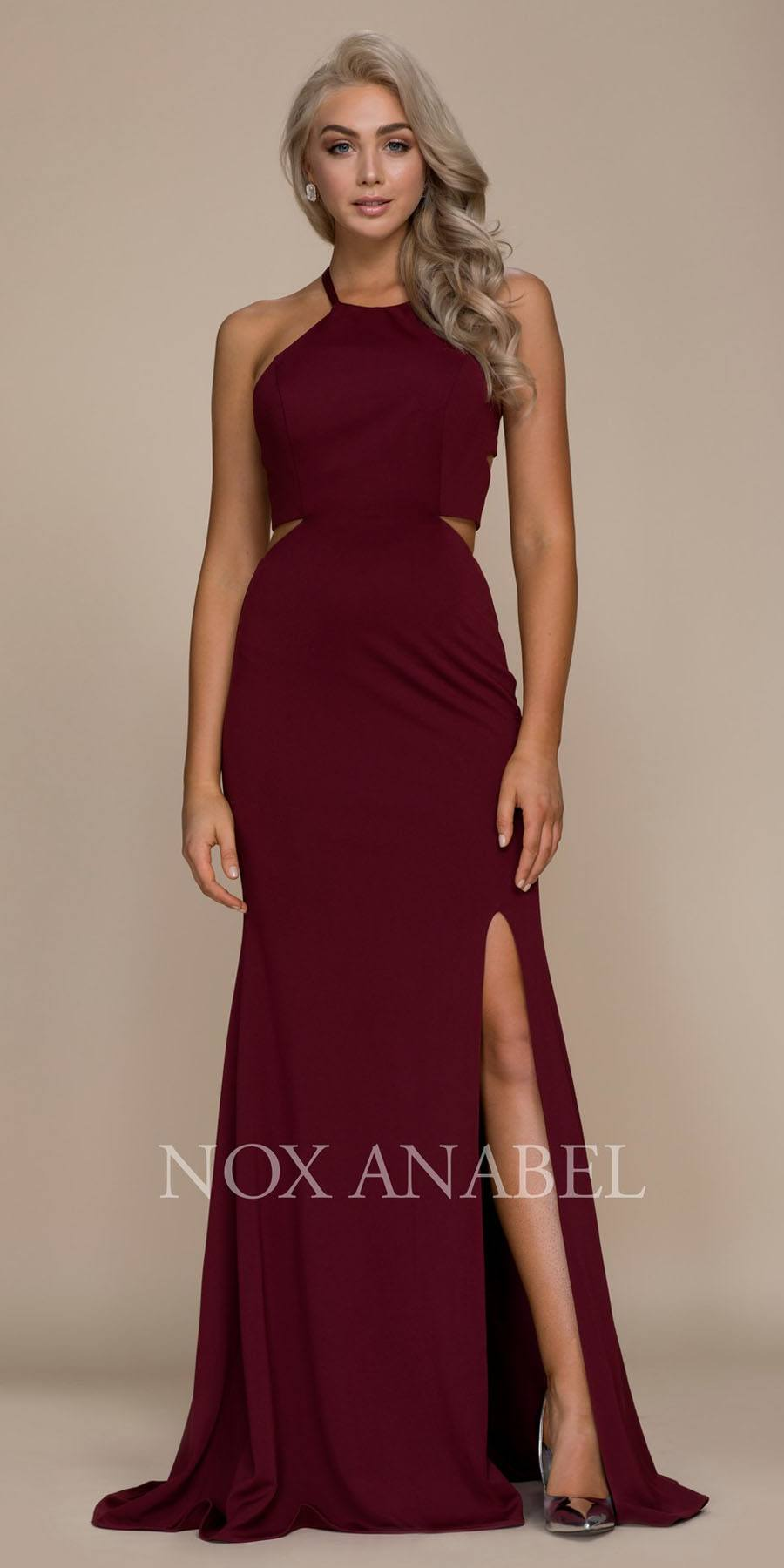 b69910e5fc0 ... Burgundy Halter Cut Out Long Prom Dress Strappy Back with Slit ...