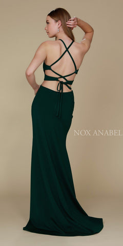 Hunter Green Halter Cut Out Long Prom Dress Strappy Back with Slit Back View