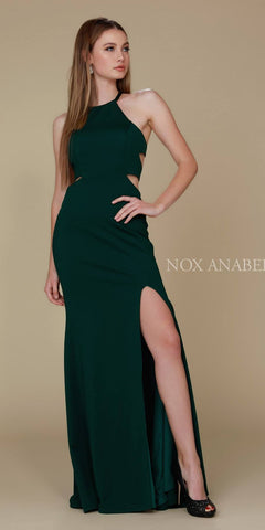 Hunter Green Halter Cut Out Long Prom Dress Strappy Back with Slit