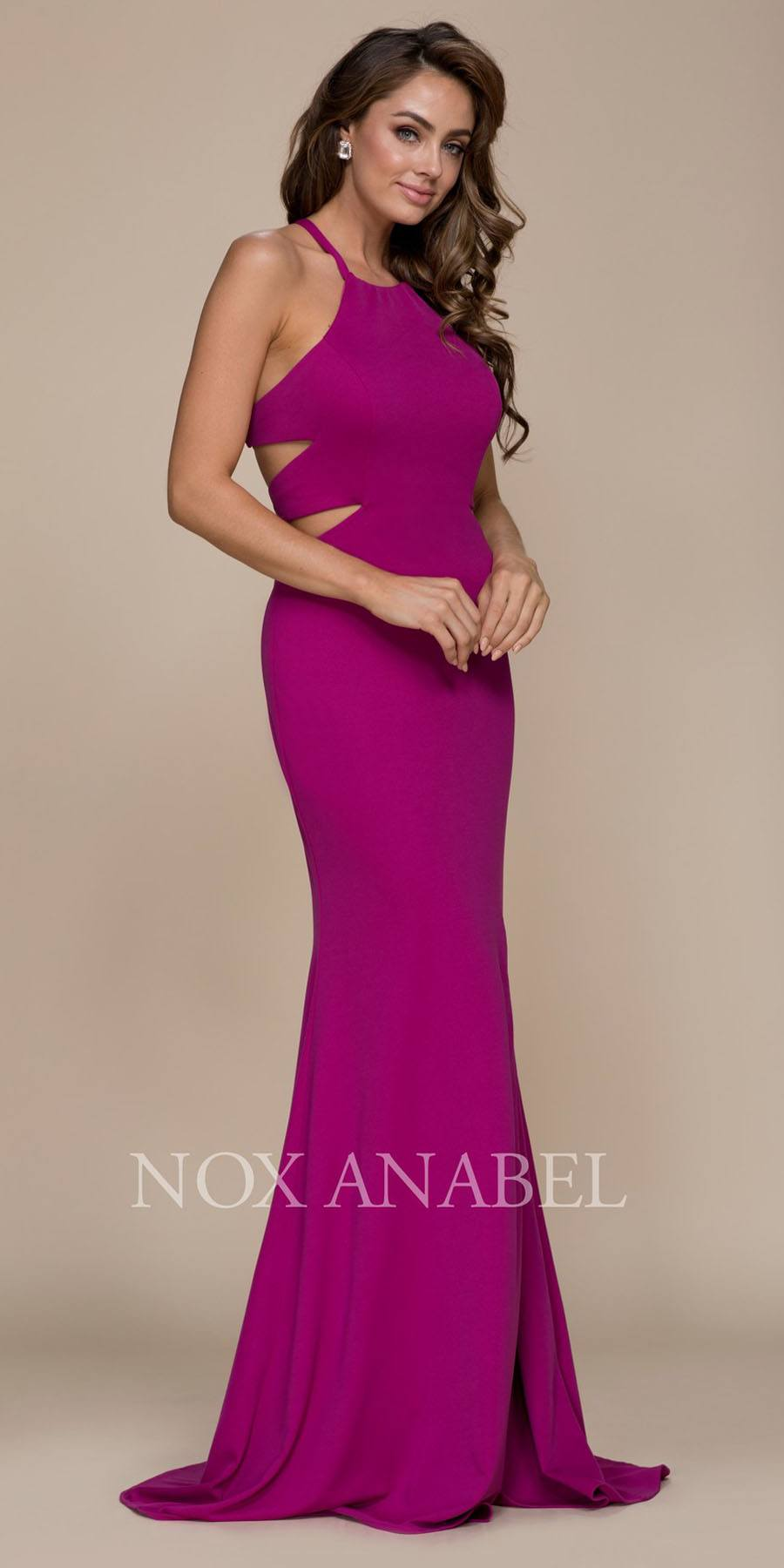 Nox Anabel C026 Magenta Halter Cut Out Long Prom Dress Strappy Back ...