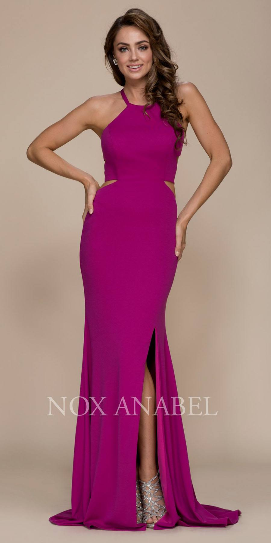 Nox Anabel C026 Burgundy Halter Cut Out Long Prom Dress Strappy Back ...