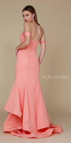 Long Coral Formal Mermaid Gown Off The Shoulder Strap Back View