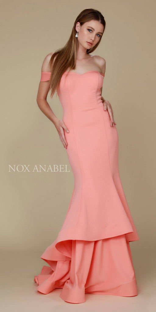 Long Coral Formal Mermaid Gown Off The Shoulder Strap