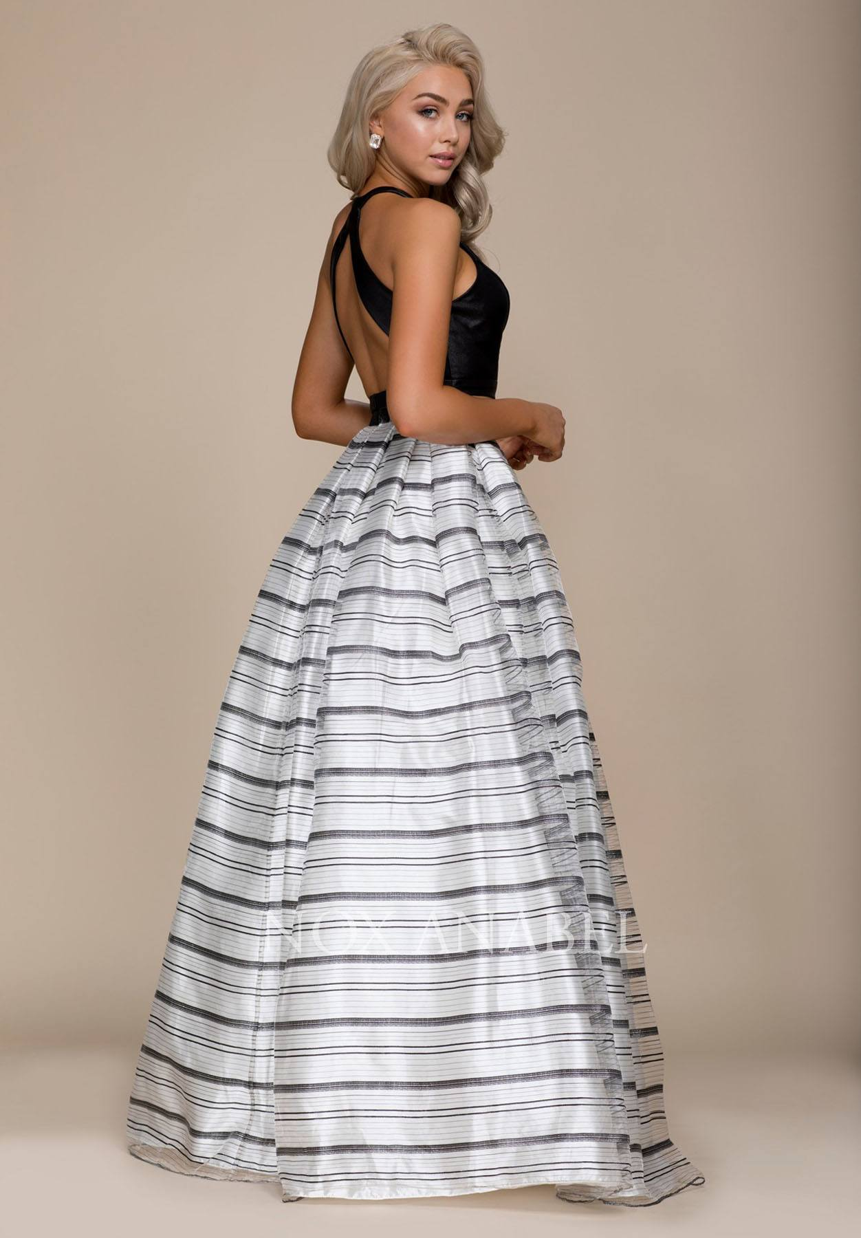 Black Top Striped Skirt Two Piece Long Prom Dress Discountdressshop