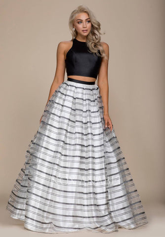 Black Top Striped Skirt Two-Piece Long Prom Dress