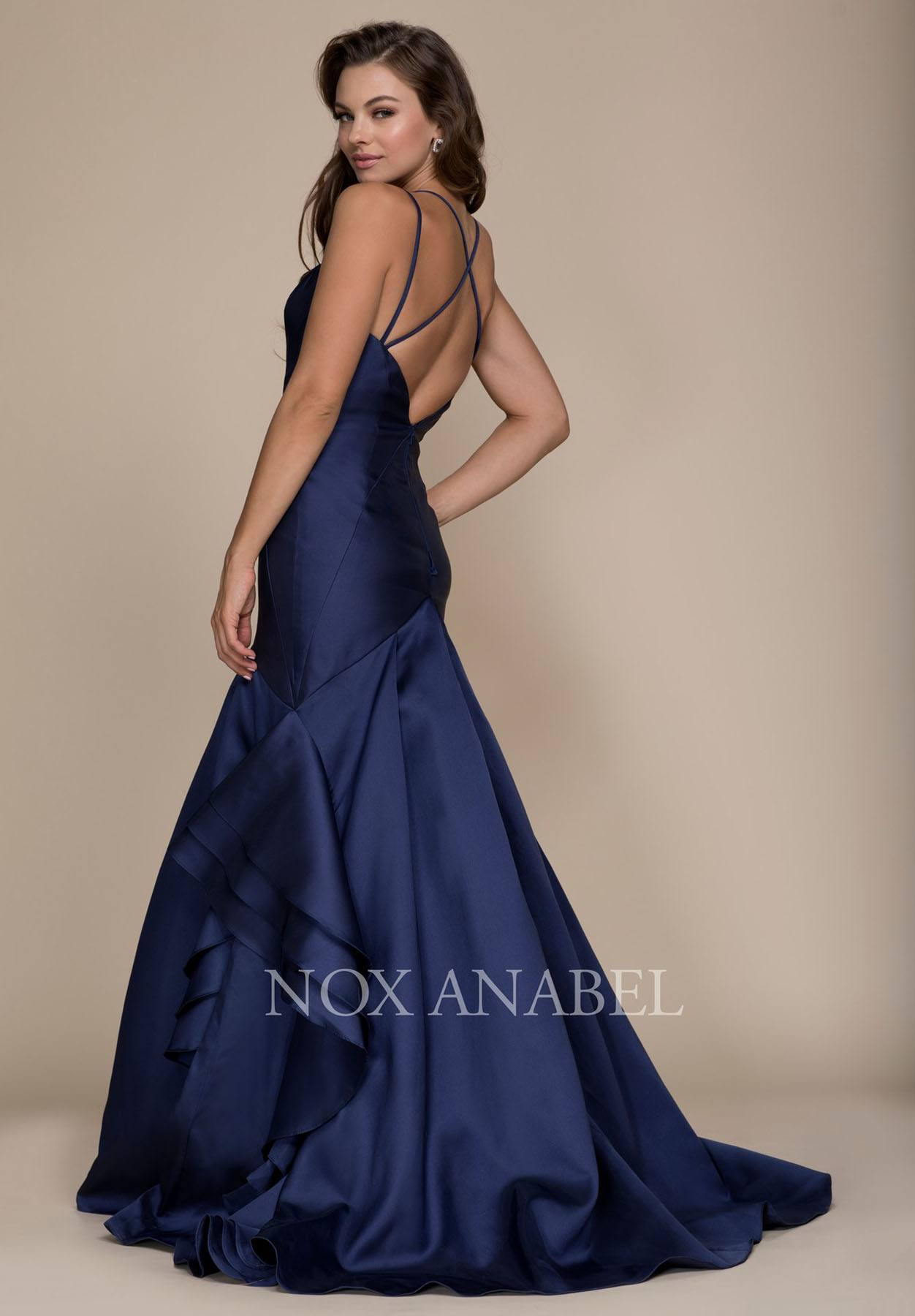 Navy Blue Mermaid Ruffled Prom Gown with Sweetheart Neckline ...