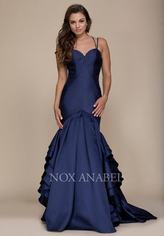 Navy Blue Mermaid Ruffled Prom Gown with Sweetheart Neckline