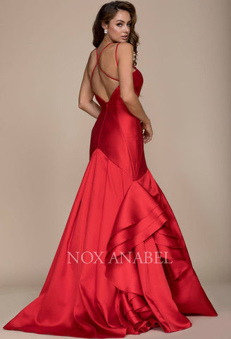 Red Mermaid Ruffled Prom Gown with Sweetheart Neckline