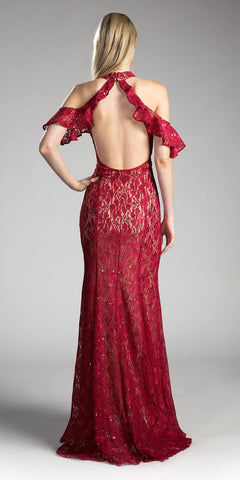 Burgundy Ruffled Cold-Shoulder Long Prom Dress