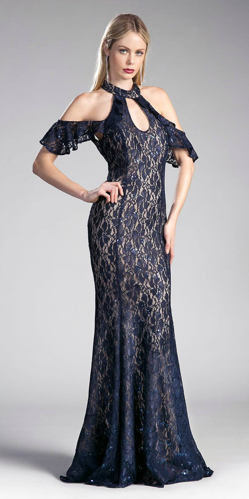 Navy Blue Ruffled Cold-Shoulder Long Prom Dress