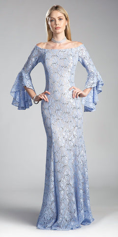 Off-the Shoulder Long Formal Dress Bell Sleeves Light Blue