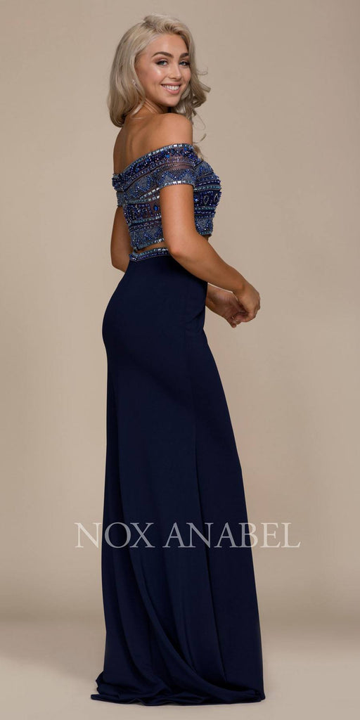 Two Piece Off Shoulder Long Prom Dress Beaded Crop Top Navy Blue