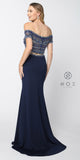 Nox Anabel C082 Off Shoulder Long Two Piece Navy Blue Dress Beaded Crop Top