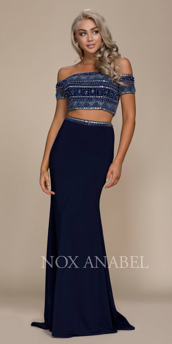 2d72dae40ed80 Two Piece Off Shoulder Long Prom Dress Beaded Crop Top Navy Blue