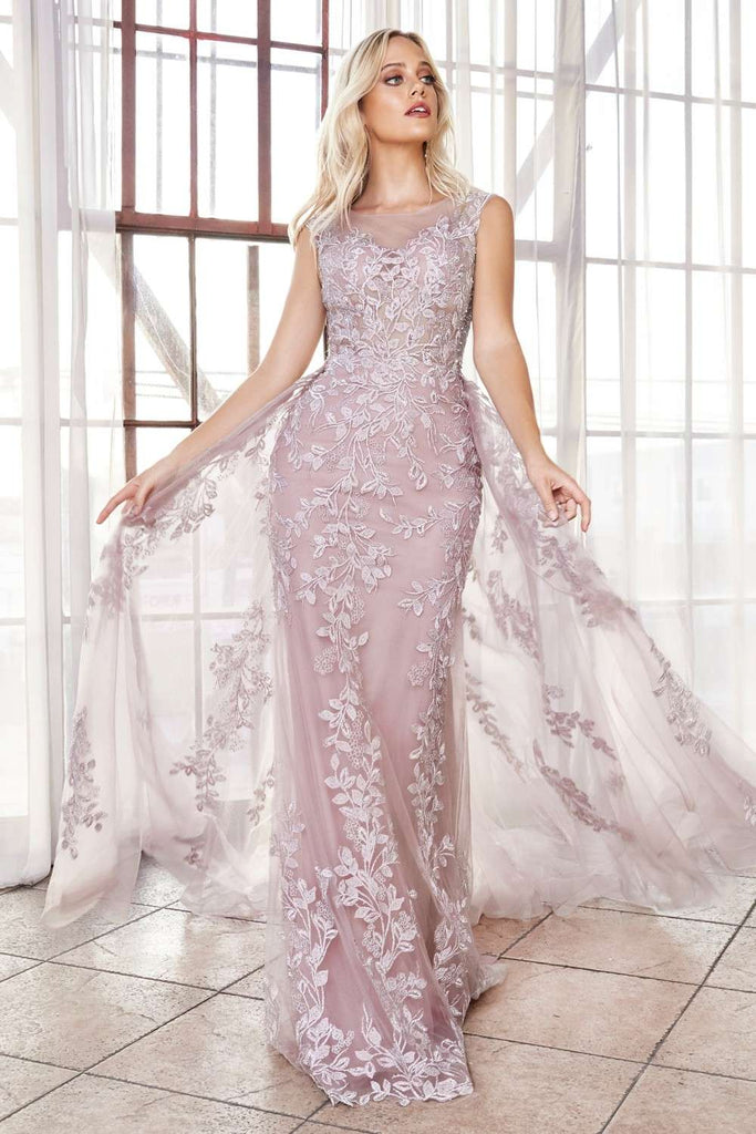 Fitted Lace Applique Mauve Gown Overskirt Train Illusion Cap Sleeves