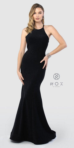 Long Halter Mermaid Prom Dress Black