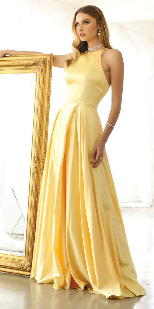 Long Halter A-Line Yellow Prom Dress Pockets and Slit