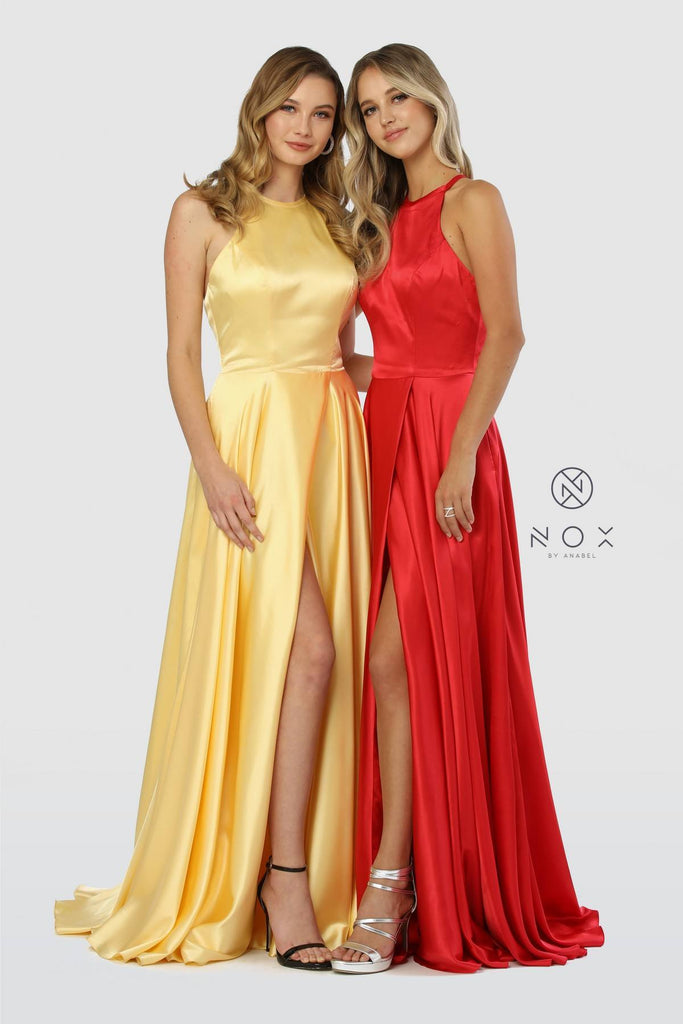 Halter Long Prom Dress with Pockets and Slit Red