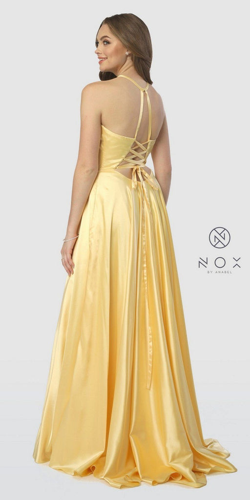 Halter Long Prom Dress with Pockets and Slit Yellow
