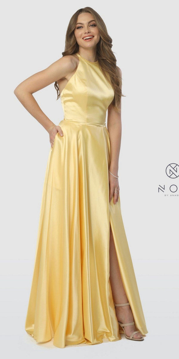 cd167cd25ae Halter Long Prom Dress with Pockets and Slit Yellow