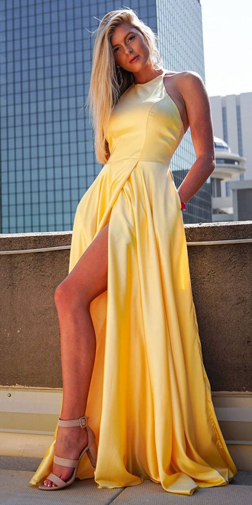Nox Anabel C209 Long Halter A-Line Satin Yellow Formal Gown Pockets