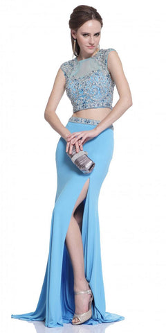 Turquoise Two-Piece Beaded Long Prom Dress Cut-Out Back