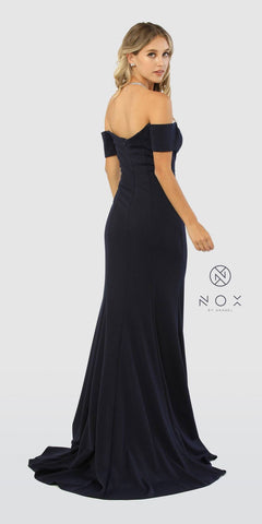 Off-Shoulder Long Prom Dress Navy Blue with Slit