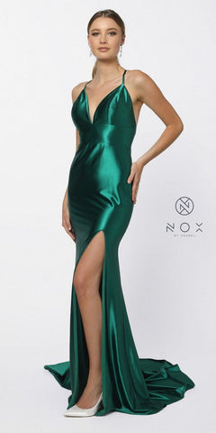 Open Back V-Neck Long Prom Dress with Slit Green