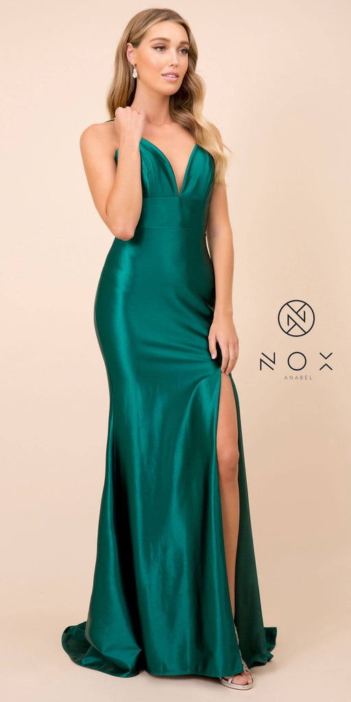 Nox Anabel C213 Open Back V-Neck Long Prom Dress with Slit Green