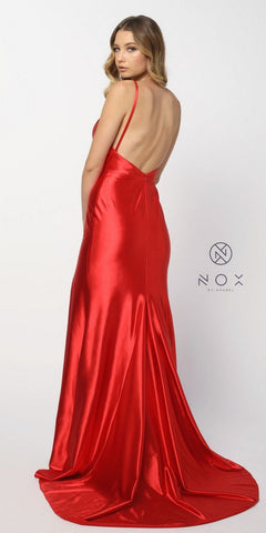 Open Back V-Neck Long Prom Dress with Slit Red