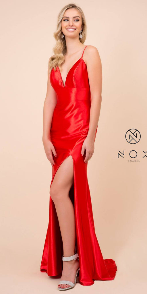 Nox Anabel C213 Open Back V-Neck Long Prom Dress with Slit Red