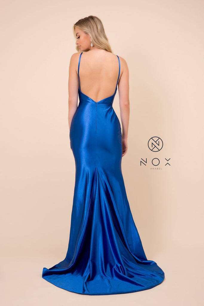 Nox Anabel C213 Open Back V-Neck Long Prom Dress with Slit Royal Blue