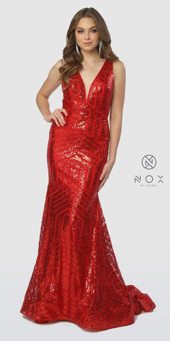 V-Neck Long Sequins Prom Dress V-Neck and Back Red
