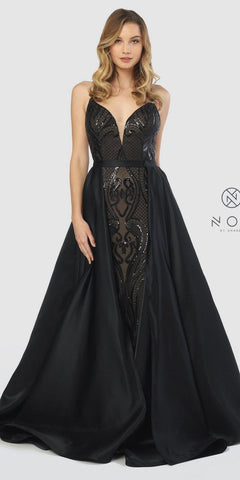 Black Sequins Long Prom Dress with Detachable Cape Skirt