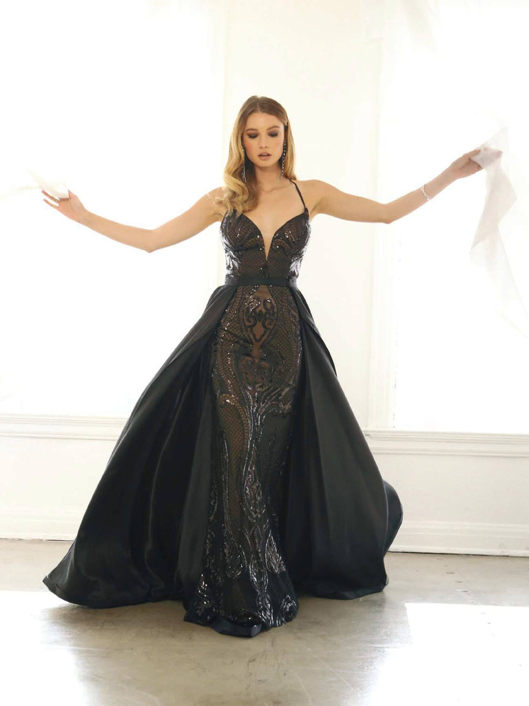Nox Anabel C215 Black Sequins Long Prom Dress with Detachable Cape Skirt
