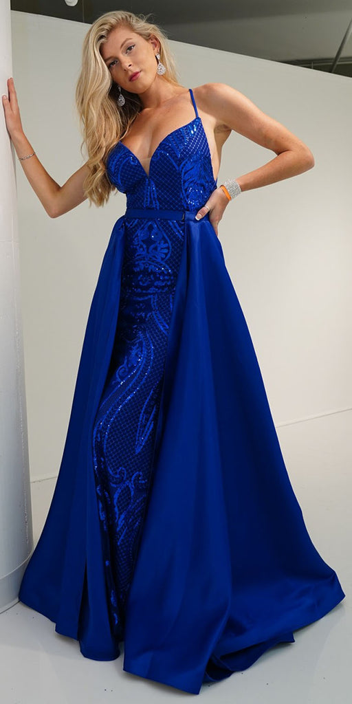Nox Anabel C215 Royal Blue Sequins Long Prom Dress with Detachable Cape Skirt