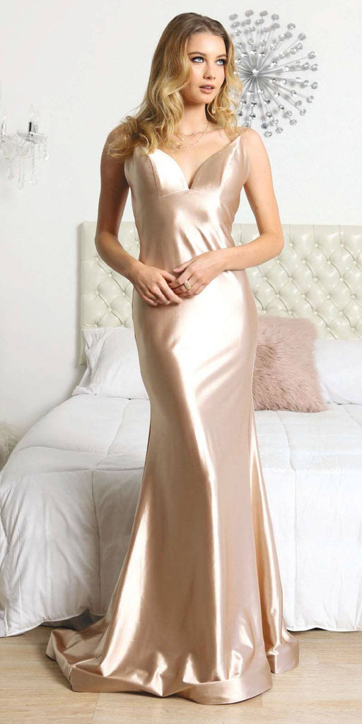 Nox Anabel C227 Open-Back Long Champagne Formal Gown Spaghetti Straps