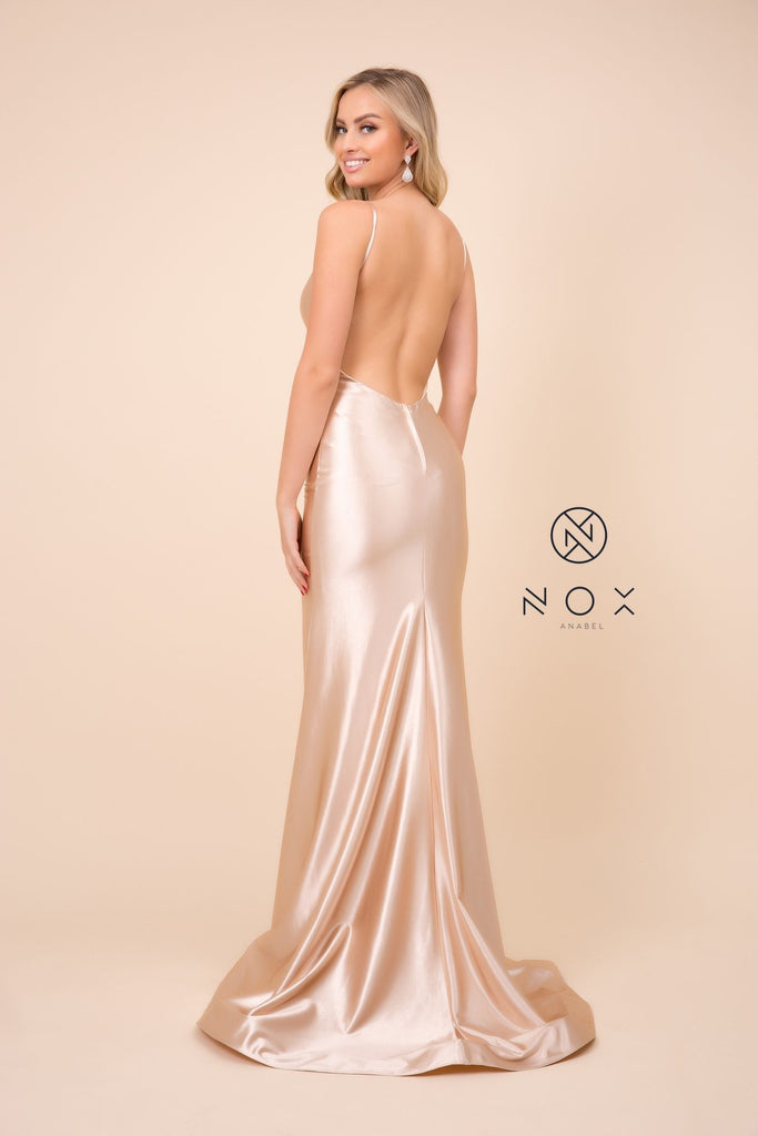 Nox Anabel C227 Long Sheath Champagne Satin Gown Spaghetti Straps