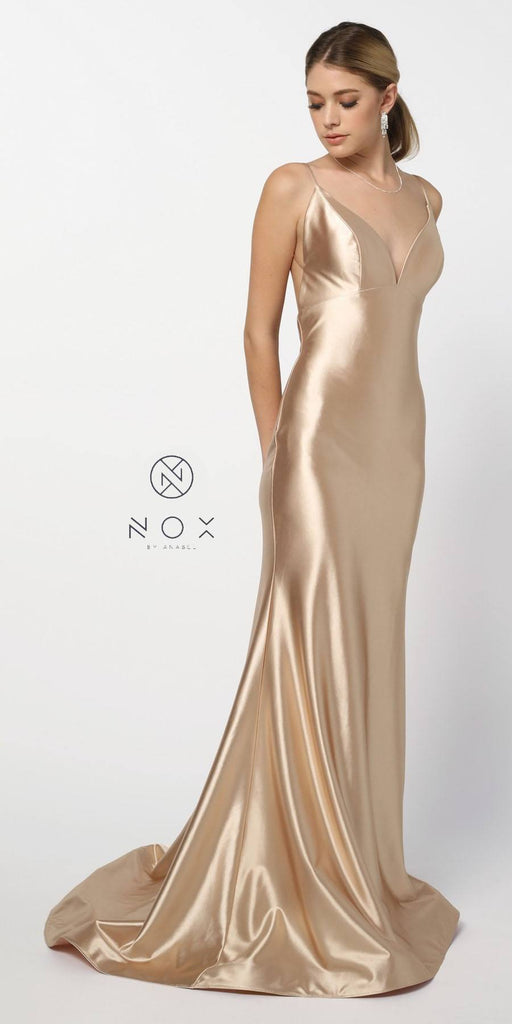 Open-Back Long Prom Dress with Spaghetti Straps Champagne