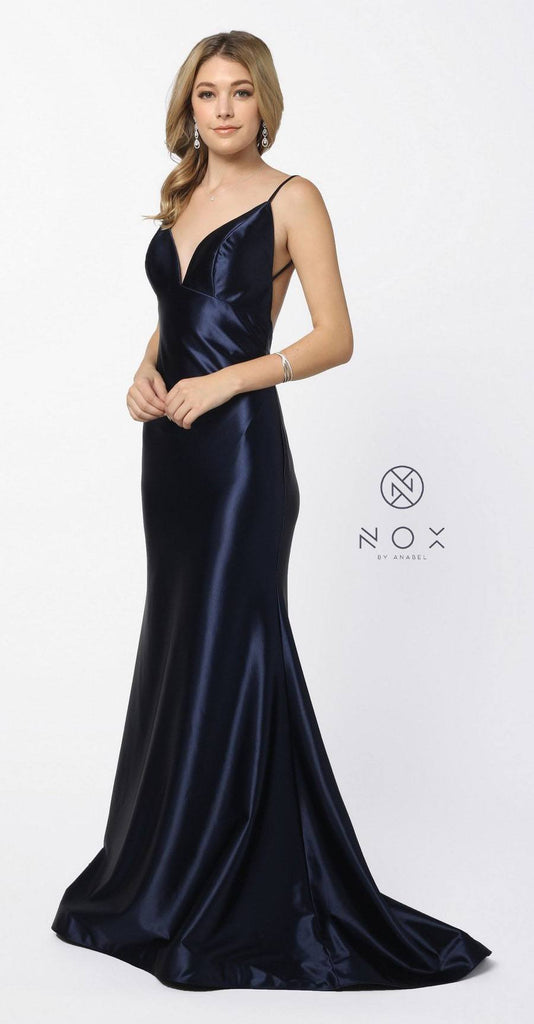 Open-Back Long Prom Dress with Spaghetti Straps Navy Blue