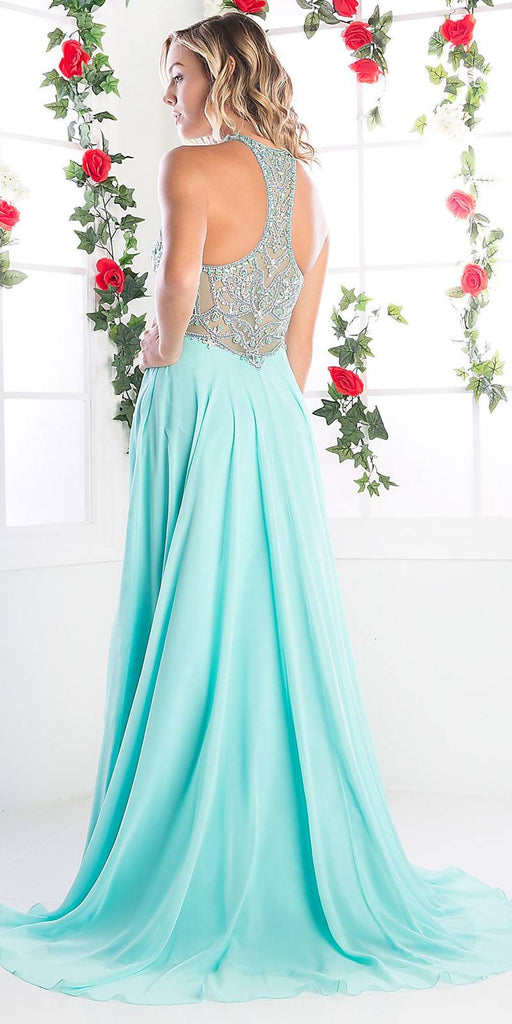 Cinderella Divine C231 Halter Sweetheart Neck Beaded A-Line Floor Length Evening Gown Mint