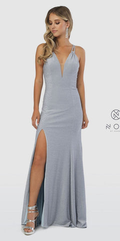 Metallic Blue Glitter Long Prom Dress V-Neck with Slit