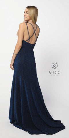 Metallic Navy Blue Glitter Long Prom Dress V-Neck with Slit