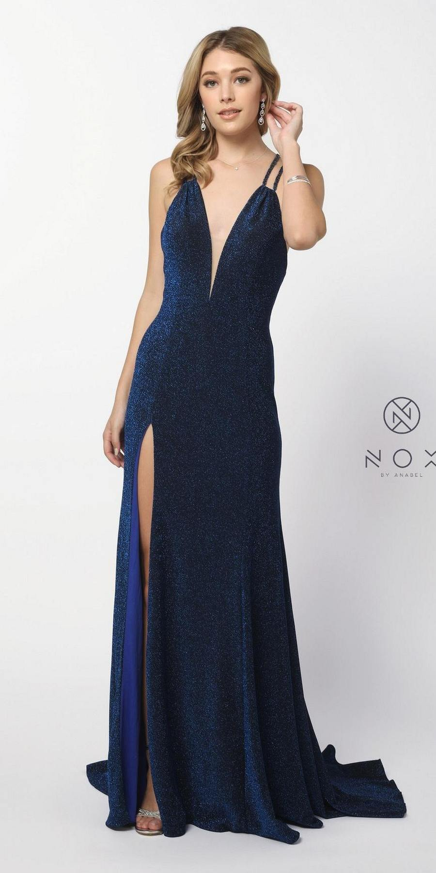 033441d5d Nox Anabel C234 Metallic Navy Blue Glitter Long Prom Dress V-Neck ...