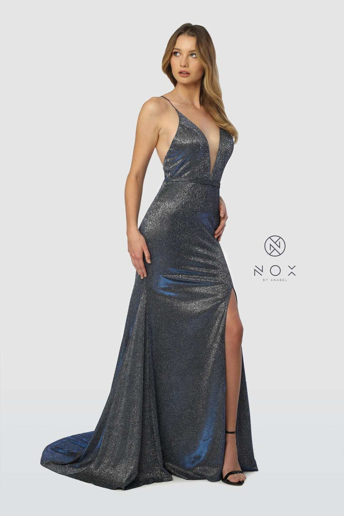 Metallic Navy Long Prom Dress Criss-Cross Open Back